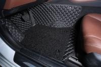 Комплект ковров в салон Nissan Qashqai Черный с белой строчкой